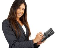 Beautiful Brunette Businesswoman Holding A Diary Stock Image