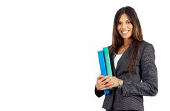 Beautiful Brunette Businesswoman Holding Files Stock Images