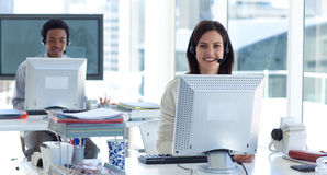 Beautiful brunette businesswoman working Royalty Free Stock Images