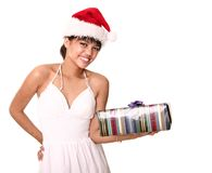 Beautiful Brunette Carrying Ch Royalty Free Stock Photo