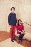 Beautiful brunette caucasian romantic loving couple in cozy warm Stock Images