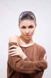Brunette in sweater Stock Photos