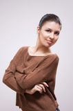 Brunette in sweater Royalty Free Stock Images