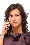 Beautiful brunette with cellphone Stock Photo