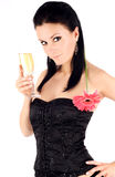 Beautiful brunette with a champagne glass Stock Photos