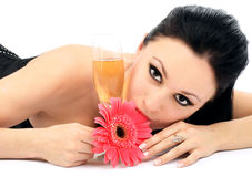 Beautiful brunette with a champagne glass Royalty Free Stock Image