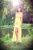Beautiful brunette at the chateau lake. Beautiful brunette in a yellow evening dress posing at a chateau lake, in a chateau park, fashion photography Stock Image