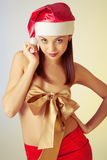 Beautiful brunette christmas  girl Royalty Free Stock Photography