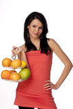 Beautiful brunette with citrus stock image