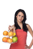 Beautiful brunette with citrus royalty free stock images