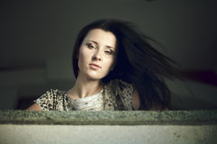 A beautiful brunette in a city Royalty Free Stock Images