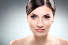 Beautiful brunette with clean face Stock Image