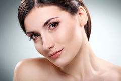 Beautiful brunette with clean face Stock Photography