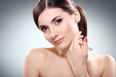 Beautiful brunette with clean face Royalty Free Stock Image