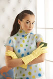 Beautiful Brunette Cleaning Gloves Royalty Free Stock Photo
