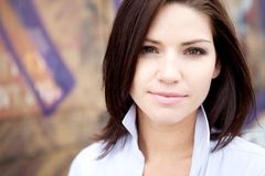 Beautiful Brunette in a collared shirt Stock Photography