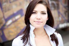Beautiful Brunette in a collared shirt Royalty Free Stock Photo