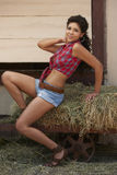 Beautiful Brunette Cowgirl Royalty Free Stock Photos