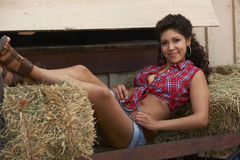 Beautiful Brunette Cowgirl Stock Images