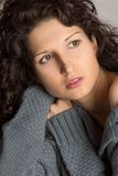 Beautiful brunette with curly hair Royalty Free Stock Photos