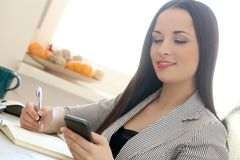 Beautiful brunette. Cute, attractive brunette in the office Stock Photography