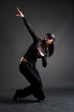 Beautiful brunette dancing royalty free stock photography