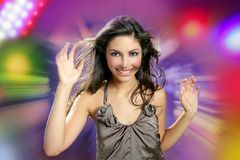 Beautiful brunette dancing night disco lights Stock Photo