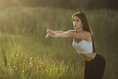 Beautiful brunette doing fitness at sunrise royalty free stock photography