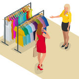 Beautiful brunette doing shopping in clothes store. Shopping time. Woman at the checkout makes shopping. Flat 3d. Isometric vector illustration for infographic Stock Photos