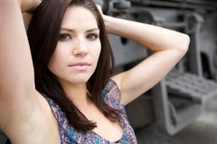 Beautiful Brunette with an edge Stock Photo