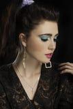 Beautiful brunette eighties woman royalty free stock image
