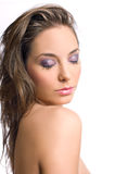 Beautiful brunette in elegant makeup. Royalty Free Stock Images