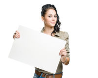 Beautiful brunette with empty billboard. Stock Images