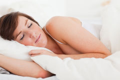 Beautiful brunette female having a rest Stock Images