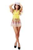 Beautiful brunette female in summer dress Royalty Free Stock Image