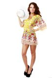 Beautiful brunette female in summer dress Royalty Free Stock Photography