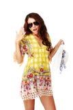 Beautiful brunette female in summer dress Stock Images
