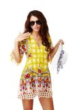 Beautiful brunette female in summer dress Royalty Free Stock Photos