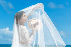 Beautiful brunette fiancee in white wedding dress with big long Royalty Free Stock Photography