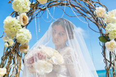 Beautiful brunette fiancee in white wedding dress with big long Royalty Free Stock Photos