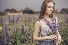 Beautiful brunette fit slim fragile woman with clear flawless sk Royalty Free Stock Photos
