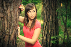 Beautiful brunette in a forest. Beautiful brunette in a red shirt posing next to a tree, in a nature, fashion photography Royalty Free Stock Images