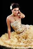 Beautiful brunette in formal dress Stock Images
