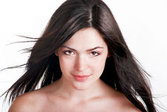 Beautiful brunette with freckles royalty free stock photos