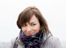 Beautiful brunette freezes Stock Photography
