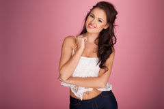 Beautiful brunette with a friendly smile Stock Photography