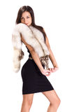 Beautiful brunette with fur isolated Stock Image