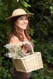 Beautiful Brunette Gardening Woman Royalty Free Stock Photo