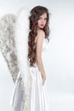 Beautiful brunette girl Angel model with wings isolated on white Royalty Free Stock Image
