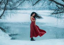 Beautiful brunette girl. Badly frozen. Background shore of a frozen river, water and ice. She is dressed in a beautiful red dress. Sad face, the wind waves are stock image